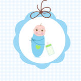 Newborn swaddle baby boy with bottle greeting card Stock Photos