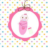 Newborn swaddle baby girl with bottle greeting card Stock Image