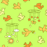 Newborn theme seamless pattern with flying birds Royalty Free Stock Images