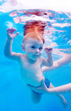 Newborn toddler learning to dive in the pool Royalty Free Stock Image