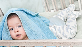 Newborn and towel Stock Photography
