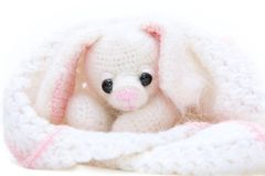 Newborn toy hare wrapped in blanket Stock Photos