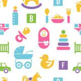 Newborn and toys background Royalty Free Stock Photography