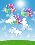 Newborn triplets flying on colorful balloons in the sky. White silhouettes of newborn triplets flying on colorful balloons on a blue sky background stock photo