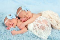 Newborn twin girls Royalty Free Stock Images
