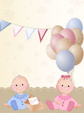 Newborn twins. Background with newborn twins - girl and boy Royalty Free Stock Photos