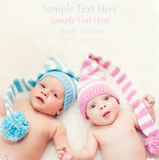 Newborn twins boy and girl Royalty Free Stock Images
