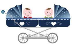 Newborn Twins Carriage Isolated. Illustration of two newborn twins in a carriage isolated white background. Eps file is available Royalty Free Stock Images