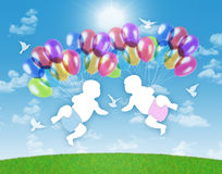 Newborn twins flying on colorful balloons in the sky. White silhouettes of newborn twins flying on colorful balloons on a blue sky background Royalty Free Stock Photography