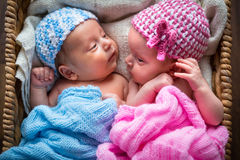 Newborn twins inside the wicker basket Stock Photo