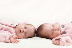 Newborn twins sisters sleeping on white fur, wearing pink sweaters Stock Photos