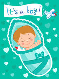 Newborn Vector Child. Baby Is Asleep. Baby Sleeps. Child With A Toy Royalty Free Stock Image