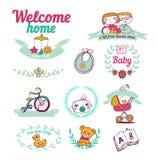 Newborn welcome home,  Icon set Stock Photo