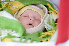 Newborn in winter Stock Photo