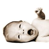 Newborn yawning Stock Photos