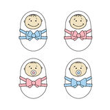 Newborns babies - girls and boys Royalty Free Stock Photography