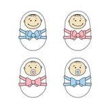 Newborns babies - girls and boys royalty free illustration