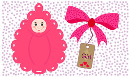 Newborns in envelopes. Beautiful girl. Stock Photo