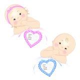 Newborns med etiketten Royaltyfri Foto