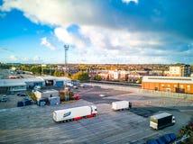 Newcastle Anglia, Październik, - 27, 2018: Widok z lotu ptaka schronienie widzieć od promu fotografia royalty free
