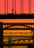 Newcastle bridges. Telephoto view of Newcastle/Gateshead bridges overlaid with red/orange color for effect Stock Photography