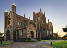 Newcastle cathedral west. Historic church of england anglican brick cathedral in Newcastle Australia at sunrise Stock Photos
