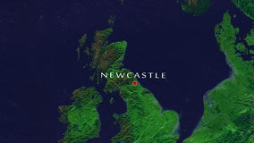Newcastle - England Zoom In From Space