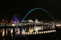 Newcastle Gateshead Quayside. Night shot of the River Tyne with the Millenium and Tyne Bridge stock images