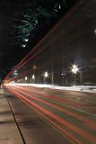 Newcastle/Gateshead Tyne Bridge Light Trails Fotografie Stock Libere da Diritti