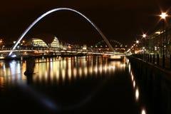Newcastle-Kaianlagen nachts Lizenzfreie Stockfotografie