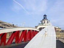 Newcastle na Tyne, Anglia, Zjednoczone Królestwo Huśtawkowy most jest huśtawkowym mostem nad Rzecznym Tyne fotografia royalty free
