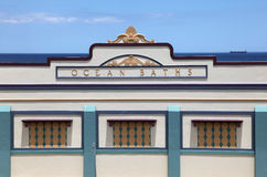 Newcastle Ocean Baths main facade. The main facade of the Newcastle Ocean Baths. This art deco style facade is one of Newcastle's famous landmarks. Construction Stock Image