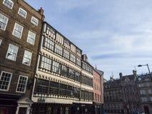 Newcastle p? Tyne, England, F?renade kungariket Fasaderna av historiska byggnader i centret arkivfoto