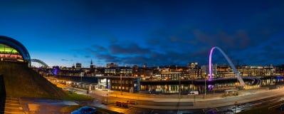 Newcastle Quayside Panorama at night Stock Image