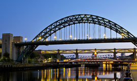 Newcastle's Bridges at Night Royalty Free Stock Photo