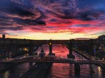 Newcastle su Tyne Cielo stupefacente fotografie stock