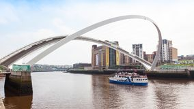 Gateshead Millennium Bridge. NEWCASTLE UPON TYNE, ENGLAND - JULY 5, 2012: A view of Gateshead Millennium Bridge, which crosses the  River Tyne, in Newcastle Upon Stock Images