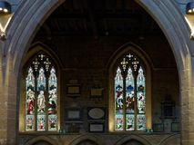 NEWCASTLE UPON TYNE, TYNE AND WEAR/UK - JANUARY 20 : Stained Glass Window in the Cathedral in Newcastle upon Tyne, Tyne and Wear. On January 20, 2018 stock image