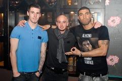 Newcastle verenigde voetballers Beste Leon en Stephen Stock Foto