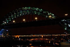 Newcastles at night. Newcastle's bridges over river Tyne at night Royalty Free Stock Images