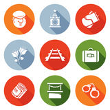 Newcomer migrant Icons Set. Vector Illustration Royalty Free Stock Images