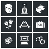 Newcomer migrant icons. Vector Illustration. Vector Flat Icons collection on a black background for design vector illustration