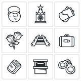 Newcomer migrant icons. Vector Illustration. Royalty Free Stock Images