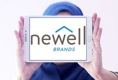 Newell Brands company logo. Logo of Newell Brands company on samsung tablet holded by arab muslim woman. Newell Brands is an American worldwide marketer of Stock Images