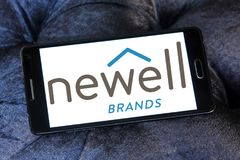 Newell Brands company logo. Logo of Newell Brands company on samsung mobile. Newell Brands is an American worldwide marketer of consumer and commercial products Royalty Free Stock Photo