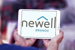 Newell Brands company logo. Logo of Newell Brands company on samsung tablet. Newell Brands is an American worldwide marketer of consumer and commercial products Stock Images