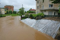 Newemergency dikes to stem the flood of the river Bacchiglione Stock Photo