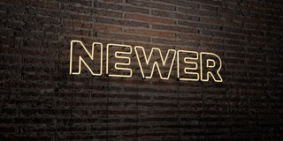 NEWER -Realistic Neon Sign on Brick Wall background - 3D rendered royalty free stock image. Can be used for online banner ads and direct mailers Royalty Free Stock Photo