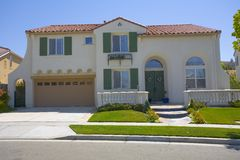 Newer Stucco Two Story Home. Exterior shot of a large stucco home that was recently built Royalty Free Stock Photography
