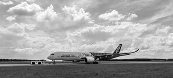 The newest Airbus A350 XWB at the airfield. Stock Images